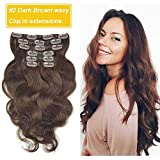 Wavy Clip in Hair Extensions for African American Hair, Re4U Dark Brown Double