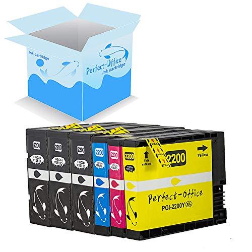Perfect-Office 6 Package 2200xl Replace The Cartridge PGI-2200 Compatible Maxify MB5020 iB4120 MB5320 MB5420 MB5120 iB4020 Printer (3 Black,1 Cyan,1 Magenta,1 Yellow)