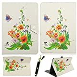 Leather Case For Universal 7 inch Tablet, ZZQ Pencil Sketch Butterfly Flowers Pattern 7