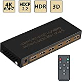 4K@60Hz HDMI Switch 5x1 Awakelion Premium Quality 5 In 1 Out Switcher with IR Remote Support,HDCP 2.2,UHD,HDR,Full HD/3D
