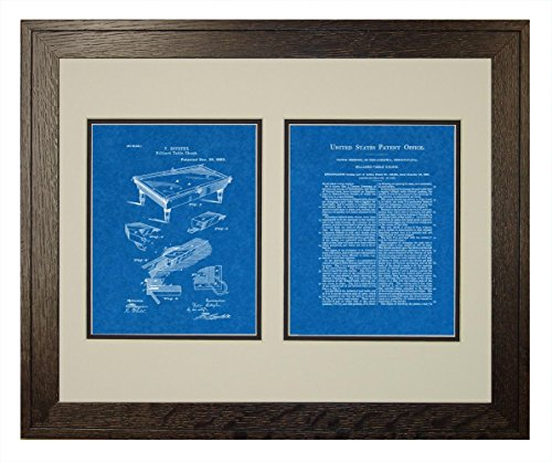 "Billiard Table Patent Art Blueprint Print in a Rustic Oak Wood Frame with a Double Mat (18"" x 24"")"