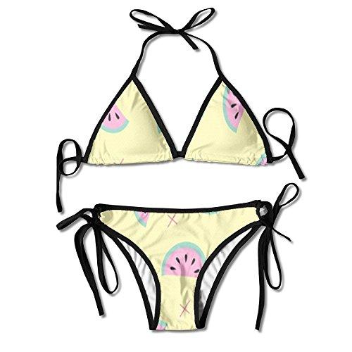 Price comparison product image Watermelon Print Women's Triangle Bikini Swimsuits Summer Beach Bikini