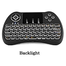 Backlit Wireless Mini Keyboard 2.4Ghz Multi-media Portable Handheld Mouse Touchpad Android Keyboard with Rechargeable Li ion Battery for PC / Pad / Xbox 360 / PS3 / Google Android TV Box / HTPC / IPTV