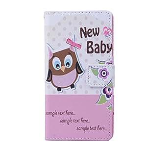 HENGHUA Cute Owl Premium PU Leather Flip Wallet Card Slot / Bracket Back Case Cover for Wiko Rainbow 4G