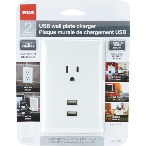 Merkury Innovations 6-Outlet 2 USB Ports Wall Plate Surge Protector