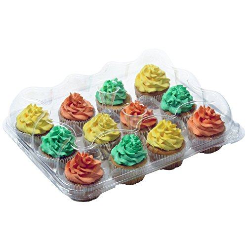 OccasionWise Premium Large Clear Cupcake Boxes with 12 Compartments | Durable Cup Cake Container/Holder to Keep Your Cupcakes or Muffins Delicious and Fresh Longer | Pack of 4]()