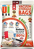 Space Saver Vacuum Storage Bags - 6 Premium Travel Space Bags - Bag Size: Extra Large 100x80 cm - 2X Sealed Compression Plastic Bags For Clothing Storage , Clothes bedding & Packing - DIBAG
