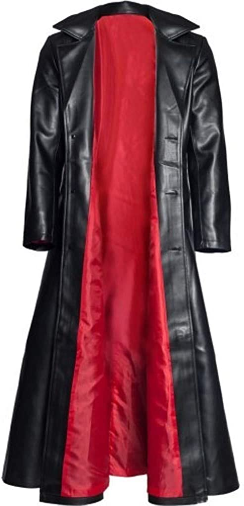 iZZZHH Mens Fashion Gothic Long Coat Faux Leather Jacket Solid Button Outwear Overcoat
