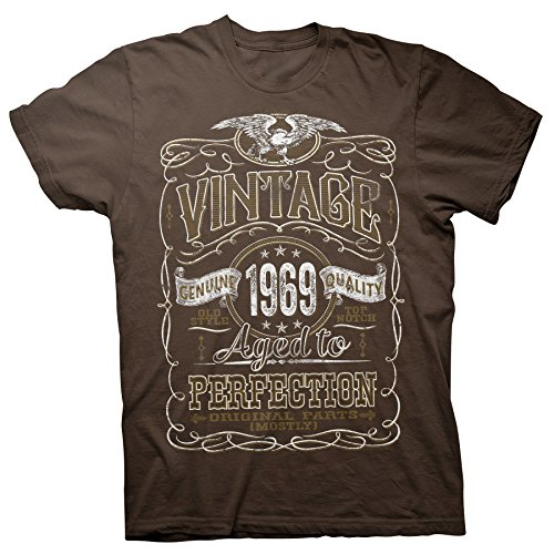50th Birthday Gift Shirt - Vintage Aged to Perfection 1969 - Brown-005-2X