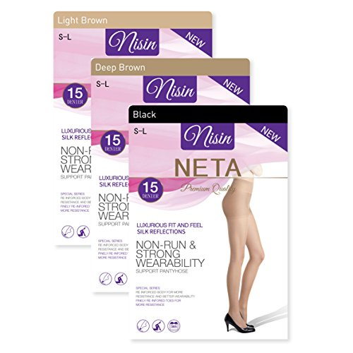 Nisin - 3 Pack Pantyhose 15 Denier Non Run Strong Wearability Support Silk Panty Hose Premium Quality Value Pack