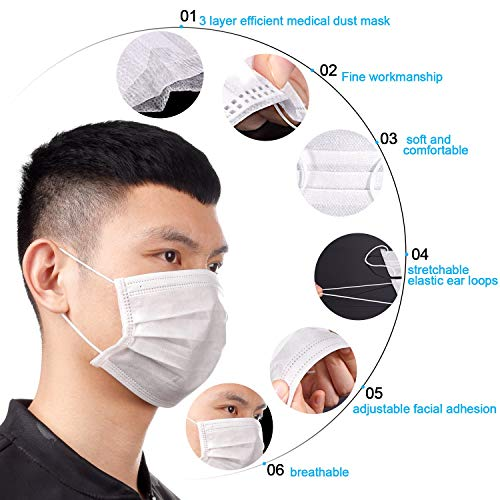 tecunite 100 pack disposable face masks breathable dust filter masks