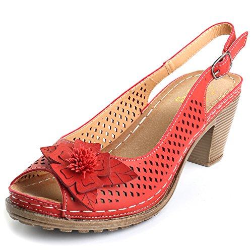 (Alexis Leroy Block Heel Adjustable Buckle Peep Toe Slingback Women's Sandals Red 38 M EU/7-7.5 B(M) US)