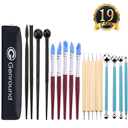 Polymer Clay Tools, Genround 19pcs Modeling Clay Sculpting Tools, 5pcs Wooden Dotting Tools + 5pcs Rubber Tip Pens + 4pcs Ball Stylus Tool + 4pcs Modeling Tools Pottery Tools + Storage (Design Polymer Clay)