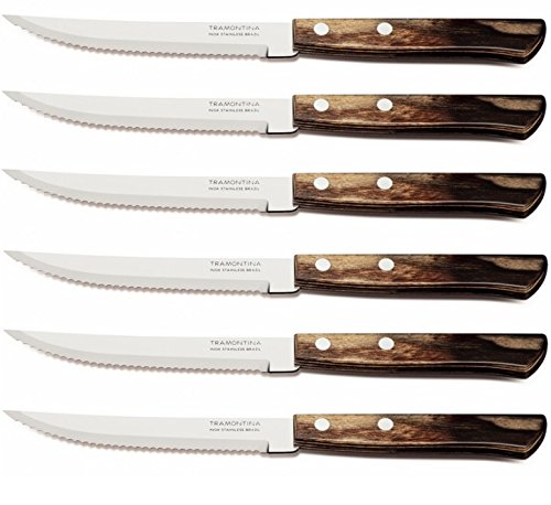 Tramontina Polywood 5 Inches Steak Knife Set 6 Piece (Brown)
