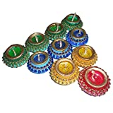 SKYTRENDS Handmade Diyas (Green, Yellow, Red, Blue) - Set of 10