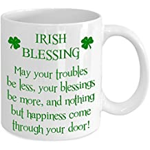 Irish Blessing St. Saint Patricks Day White Coffee Mug Gift Pattys Day Shamrock Faux Glitter Green Clover Leaf …