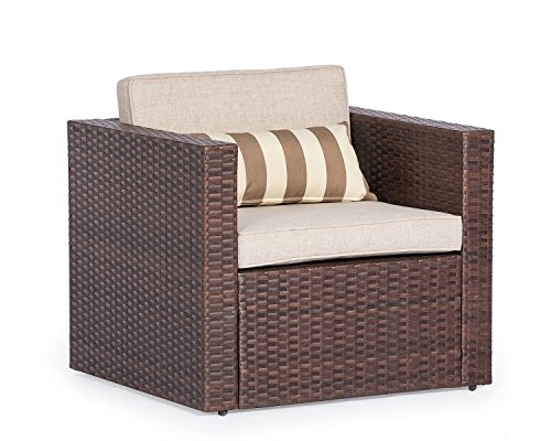 Solaura Outdoor Sofa Furniture Brown Wicker Lounge Chair | Additional Chair for Sectional Sofa Sets | Light Brown Cushions