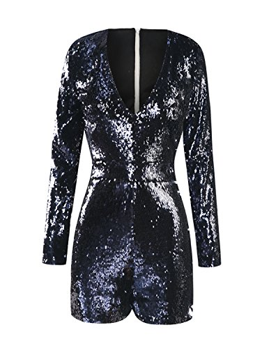 ASMAX HaoDuoYi Womens Mardi Gras's Sparkly Sequin V Neck Party Clubwear Romper Jumpsuit Navy