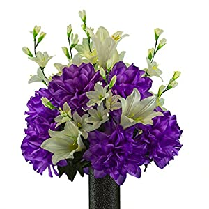 Ruby's Silk Flowers Lily with Purple Dahlia Mix, Featuring The Stay-in-The-Vase Design(C) Flower Holder (MD2193) 7