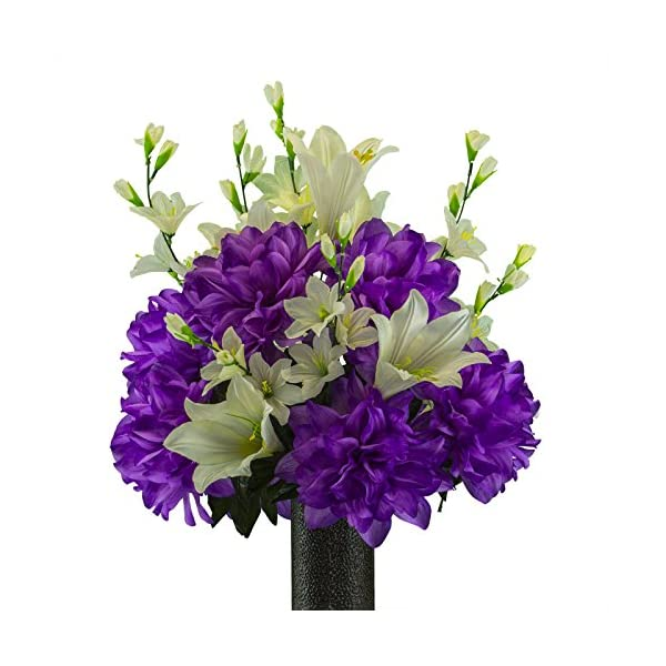Lily-with-Purple-Dahlia-Mix-featuring-the-Stay-In-The-Vase-DesignC-Flower-Holder-MD2193