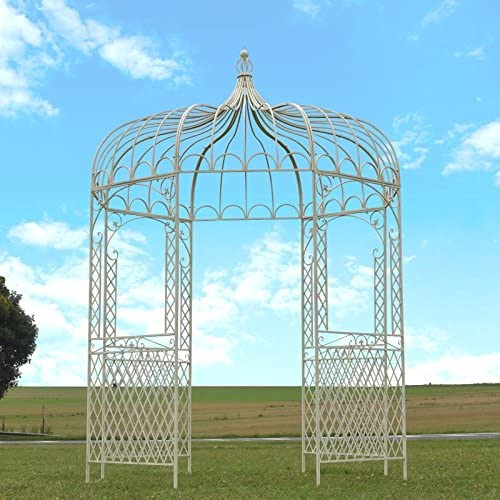 Cenador Gloriette – Pérgola (hierro de jardín blanca Ø200 cm: Amazon.es: Hogar