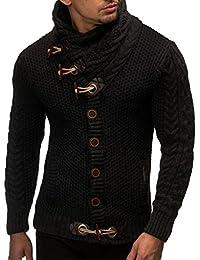 LN4195 Men's Knitted Turtleneck Cardigan