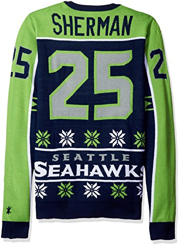 Seattle Seahawks Sherman R. #25 2015 Player Ugly Sweater Large