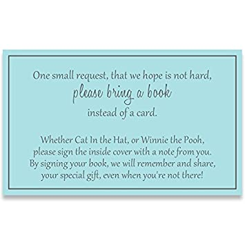 Gender Neutral Baby Shower, Bring A Book Inserts, Boys, Blue And Gray,