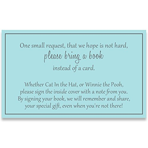 Free Baby Shower Cards (Gender Neutral Baby Shower, Bring a Book Inserts, Boys, Blue and Gray, Poem, Printed Insert Cards, Free Shipping, Request, Insert)