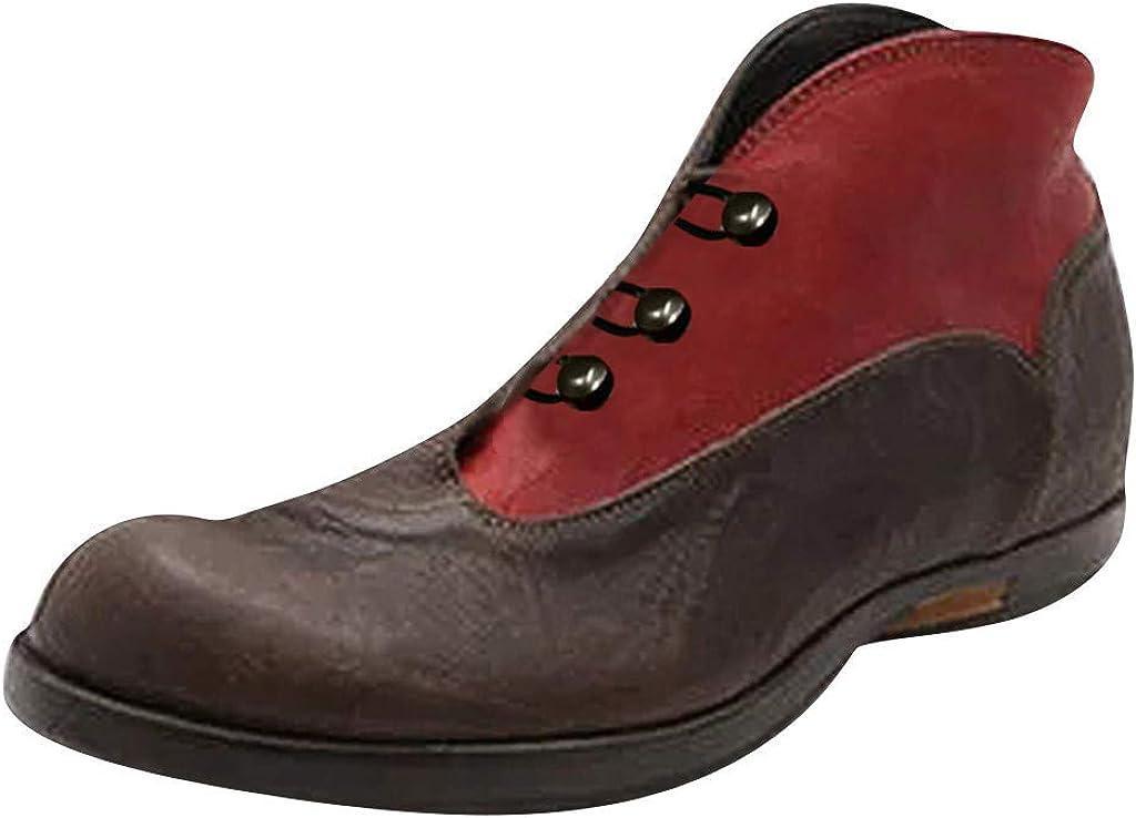 Jodier Mujer Botas de Cuero Botines Zapatos de Mujer Botas Retro Moda Casual Zapatos Boots Ocasional Anti Deslizante Zapatos de Verano Al Aire Libre Zapatos de cuero retro