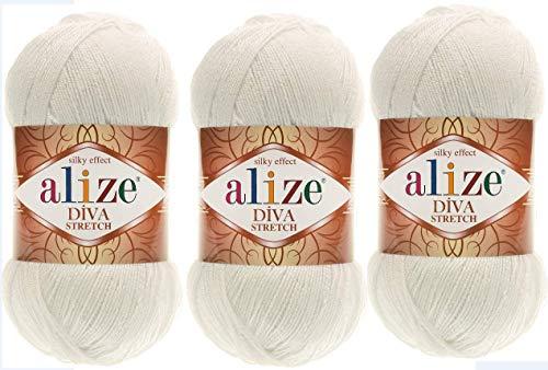 Alize Diva Stretch Thread Crochet Hand Knitting Lot of 3skn 300gr 1314yds 100% Microfiber Acrylic Stretch Bikini Yarn (62)