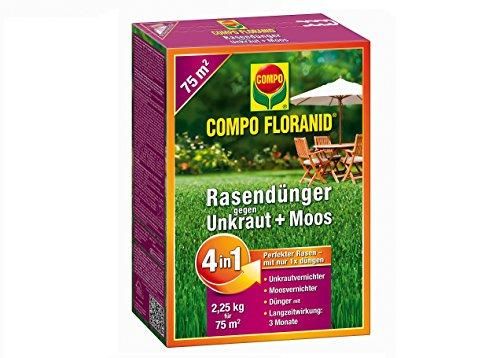 COMPO FLORANID Rasendünger gegen Unkraut + Moos 4in1/ 9 kg für 300 m²