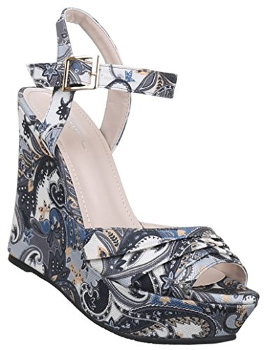 Damen Sandaletten Schuhe Pumps Plateau Heels Stilettos Keilabsatz Wedges  Plateau schwarz blau rot camel 36 37