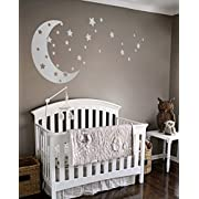 Moon and Stars Night Sky Vinyl Wall Art Decal Sticker Design for Nursery Room DIY Mural Decoration (Silver, 22x49 inches)