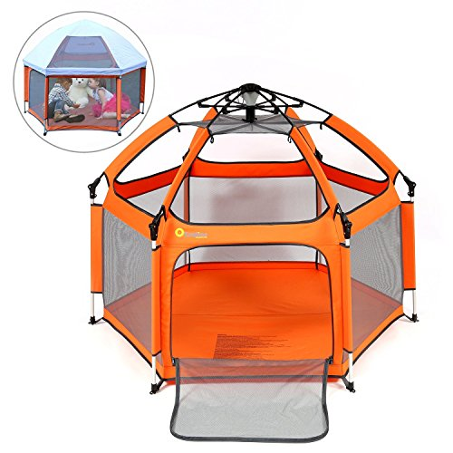 Baby Playpen - Exqline Pop 'N Go Baby Playard [2018 Updated New Version], Foldable and Compact Best Kids Playpen with UV Canopy