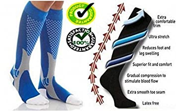 Hombres Mujeres Unisex alta calidad extra confort Ultra elástico calcetín de compresión graduada calcetines altos para