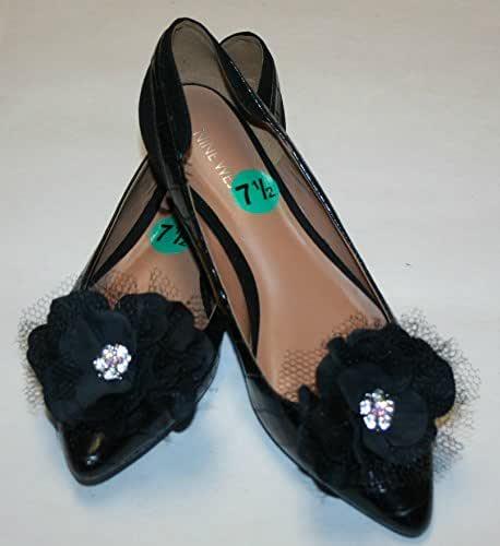 Black Flower Shoe Clips, Shoe Accessory
