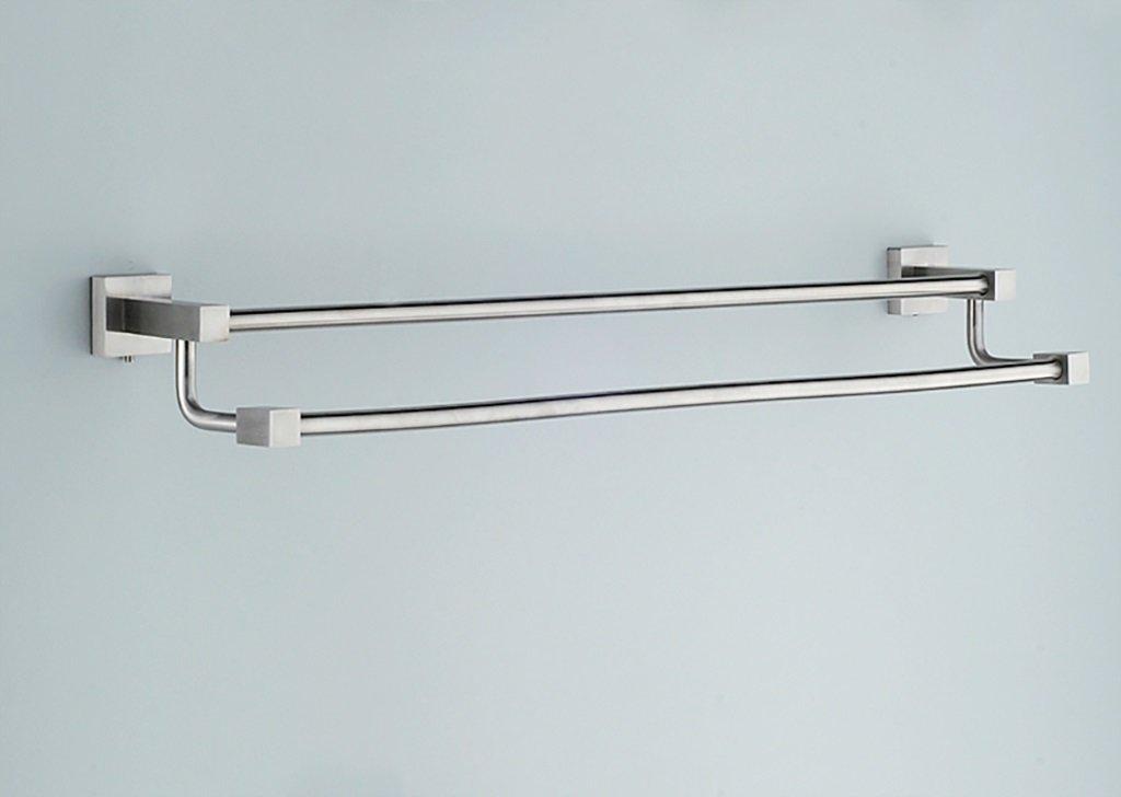 タオルラック/ダブルタオルラック(60cm、ドローイング、304ステンレス)ウォールマウントバスルームタオルラックシンプルスタイル B07DNLHV76