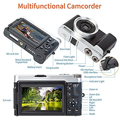 Digital Camera Video Camcorder WiFi Camera Vlogging YouTube Recorder HD1080P 30FPS 24.0MP 16X Digital Zoom 3.0 Inch Flip Screen Camera with Wide Angle Lens and 2 Batteries(DC102)