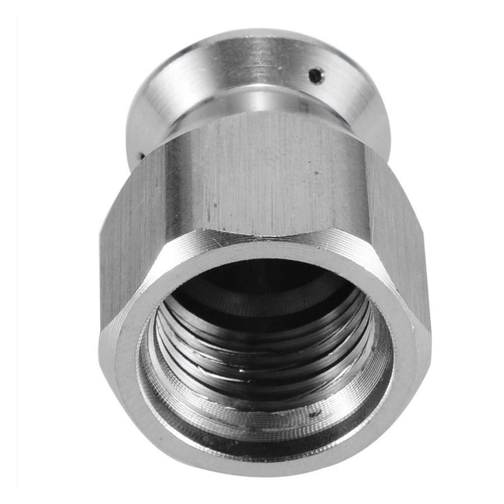 Homyl 1//4 Hochdruckreiniger Rotierende Rohrreinigungsd/üse 1x Frontloch Edelstahl 3x Heckloch