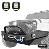 #10: oEdRo Full Width JK Front Bumper + 2x Square LED Lights Combo, For 07-18 Jeep Wrangler Unique STAR GUARDIAN Design, Upgraded Textured Black Off Road w/Fog Lights Hole