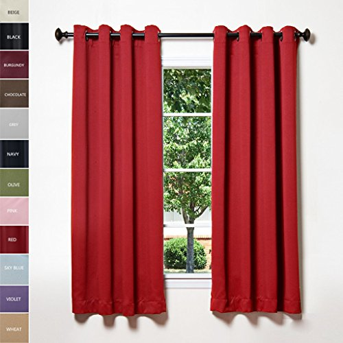 ChadMade Solid Thermal Insulated Blackout Curtains Drapes Antique Bronze Grommet / Eyelet Red 52W x 96L Inch (Set of 2 Panels)