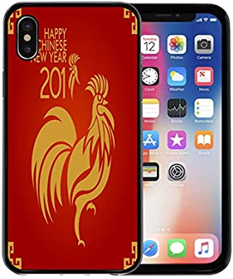emvency phone case for apple iphone xs caseiphone x casered gold happy chinese new year and calendar zodiac soft rubber border decorative black
