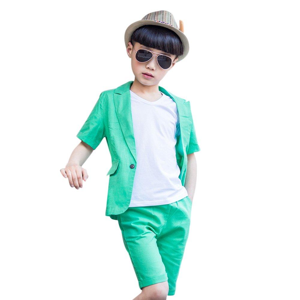 Uwback Boys Summer Suits 2Pcs Blazer Shorts Green CN Size 150