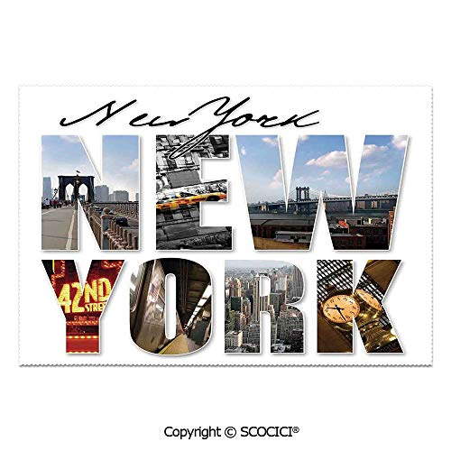 SCOCICI Set of 6 Printed Dinner Placemats Washable Fabric Placemats New York City Themed Collage Featuring with Different Areas of The Big Manhattan Scenery for Dining Room Kitchen Table -