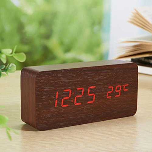 Gotd Rectangle Wooden Wood LED Alarm Clock, Voice Control Calendar Thermometer Wooden LED Digital Alarm Clock, USB Power Supply Cable Or 4PP AAA Battery (Battery not included) (M) by Goodtrade8 (Image #1)