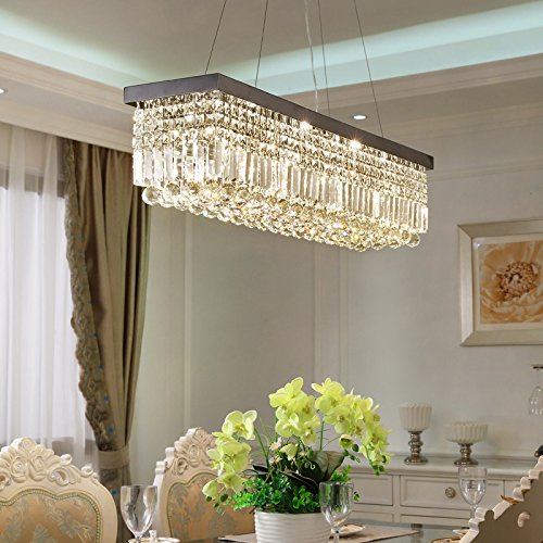 Moooni Rectangle Clear Crystal Chandelier Lighting Modern Pendant Lighting Polished Chrome Finish L31.5