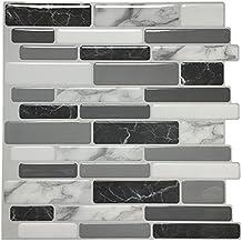 """Art3d 12""""x12"""" Peel and Stick Backsplash Tile for Kitchen, Marble Grey (6 Pack)"""