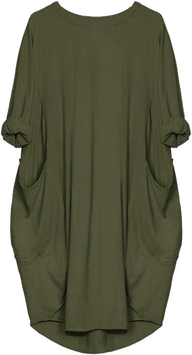 Women Pocket Loose Dress Ladies Crew Neck Casual Baggy Long Tops Dress Oversized