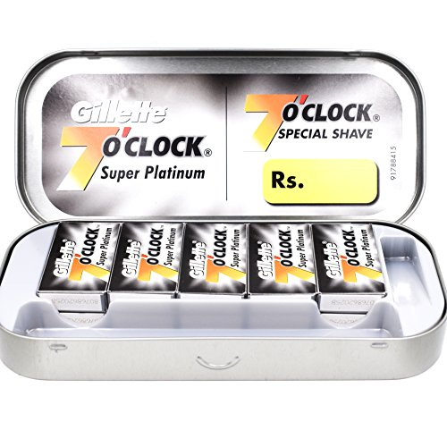 100 7 O'clock Super Platinum Double Edge Safety Razor Blades (10 x 10) - AKA 7'Oclock Black - Premium Salon Box